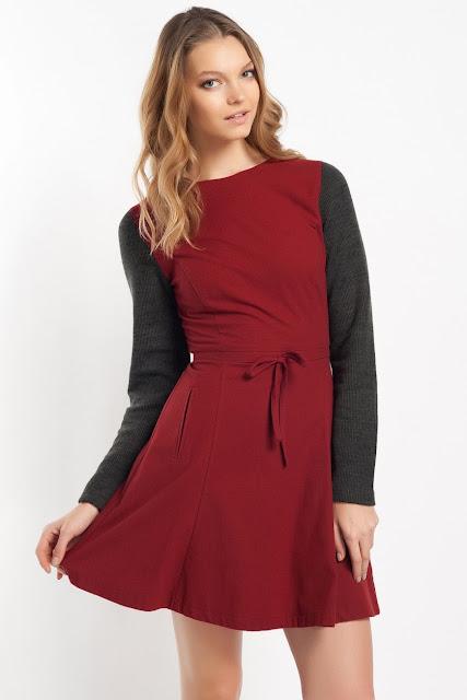 kırmızı siyah blok renk elbise klasik kesim kısa koton 2014 elbise modelleri