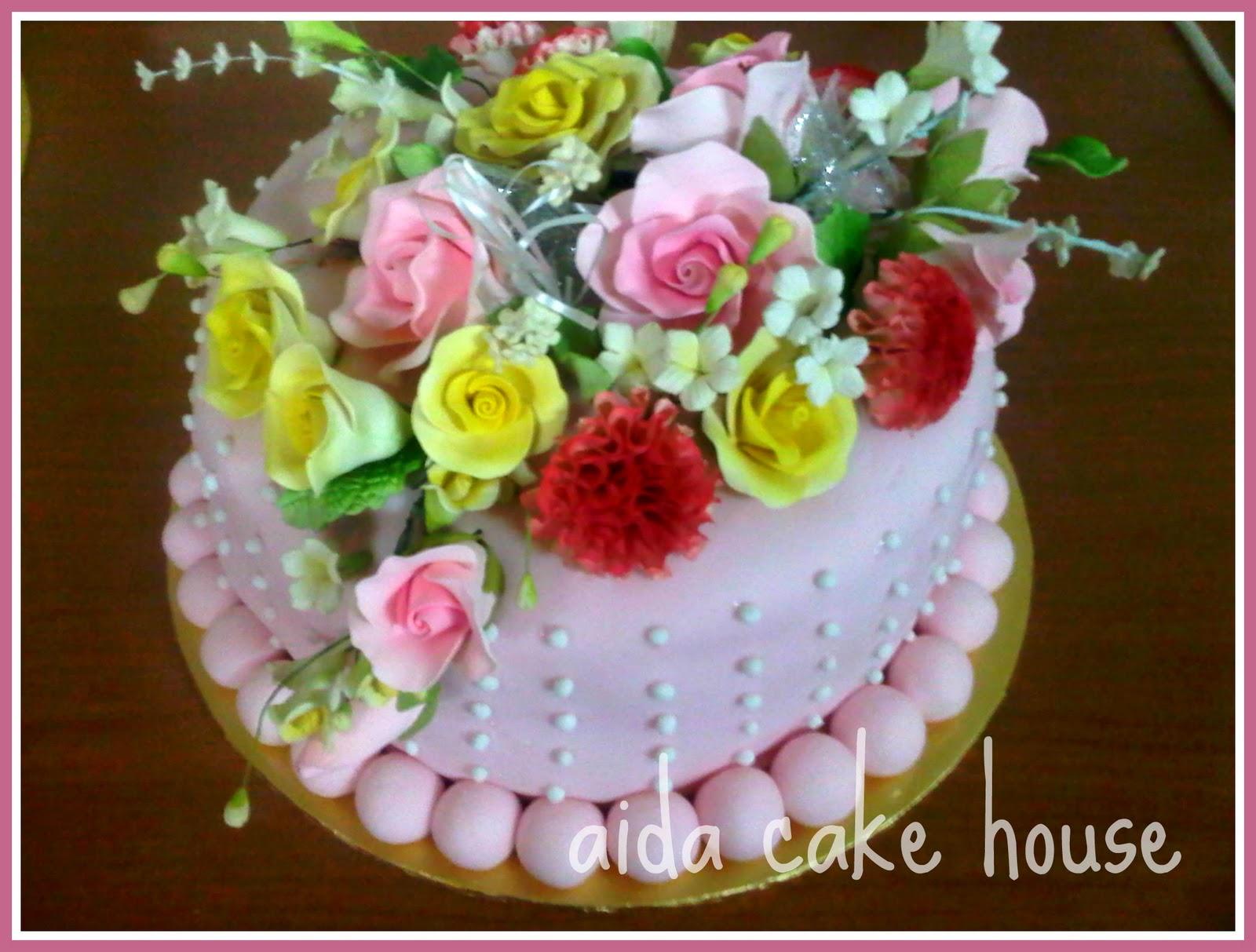 Cake With Fondant Flowers : [Fondant Cake] Flowers Engagement Cake