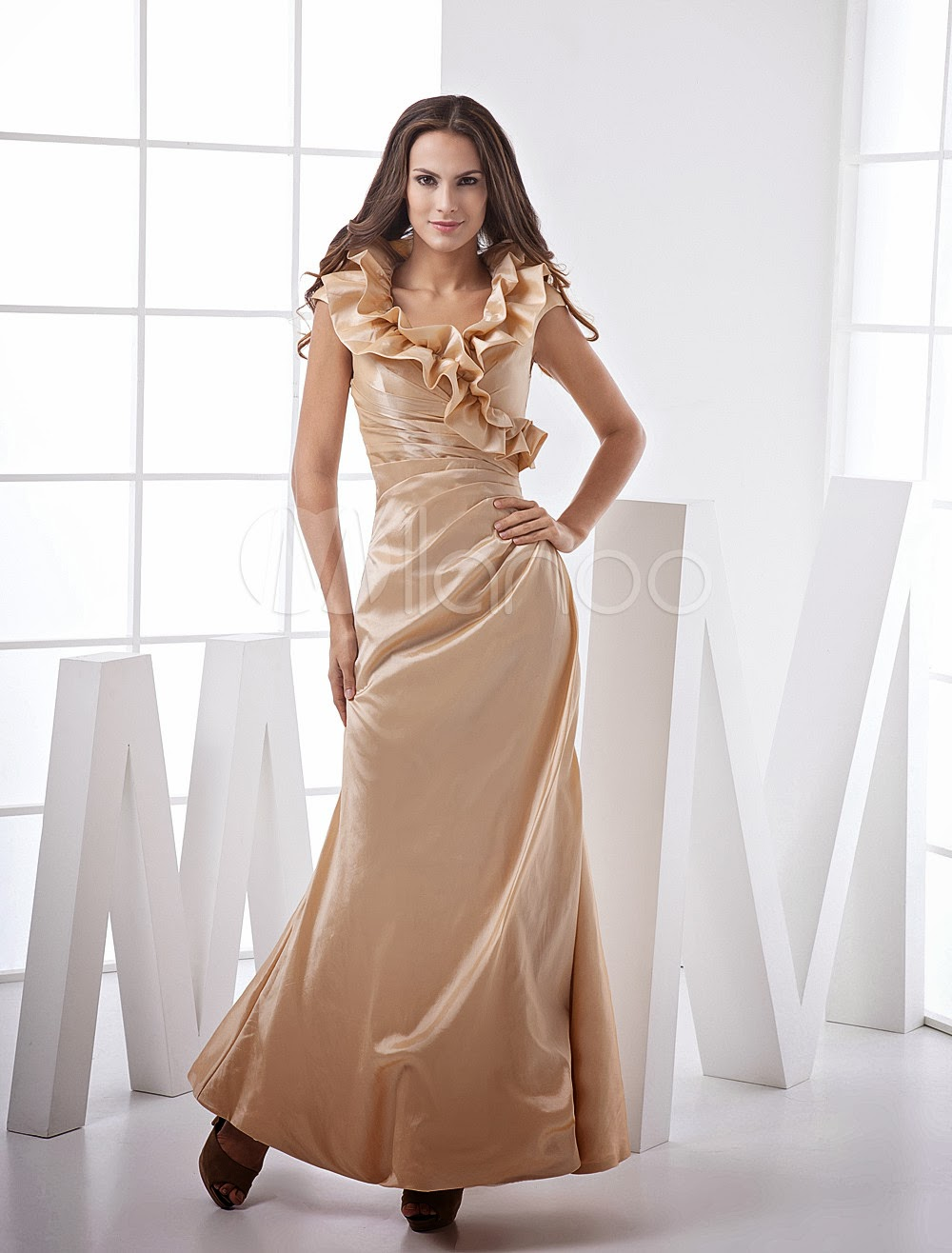 China Wholesale Dresses - Champagne Mermaid Trumpet Surplice Neck Taffeta Prom Maxi Dress