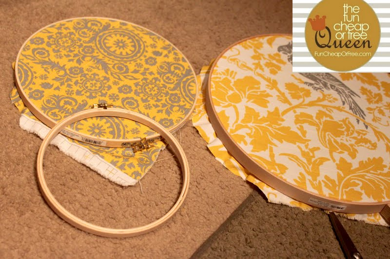 Yellow & Gray Nursery tutorial: Fabric polka dot wall art - Fun ...