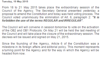 MASONIC AGENCY   The Council approved the amendment of the Constitution