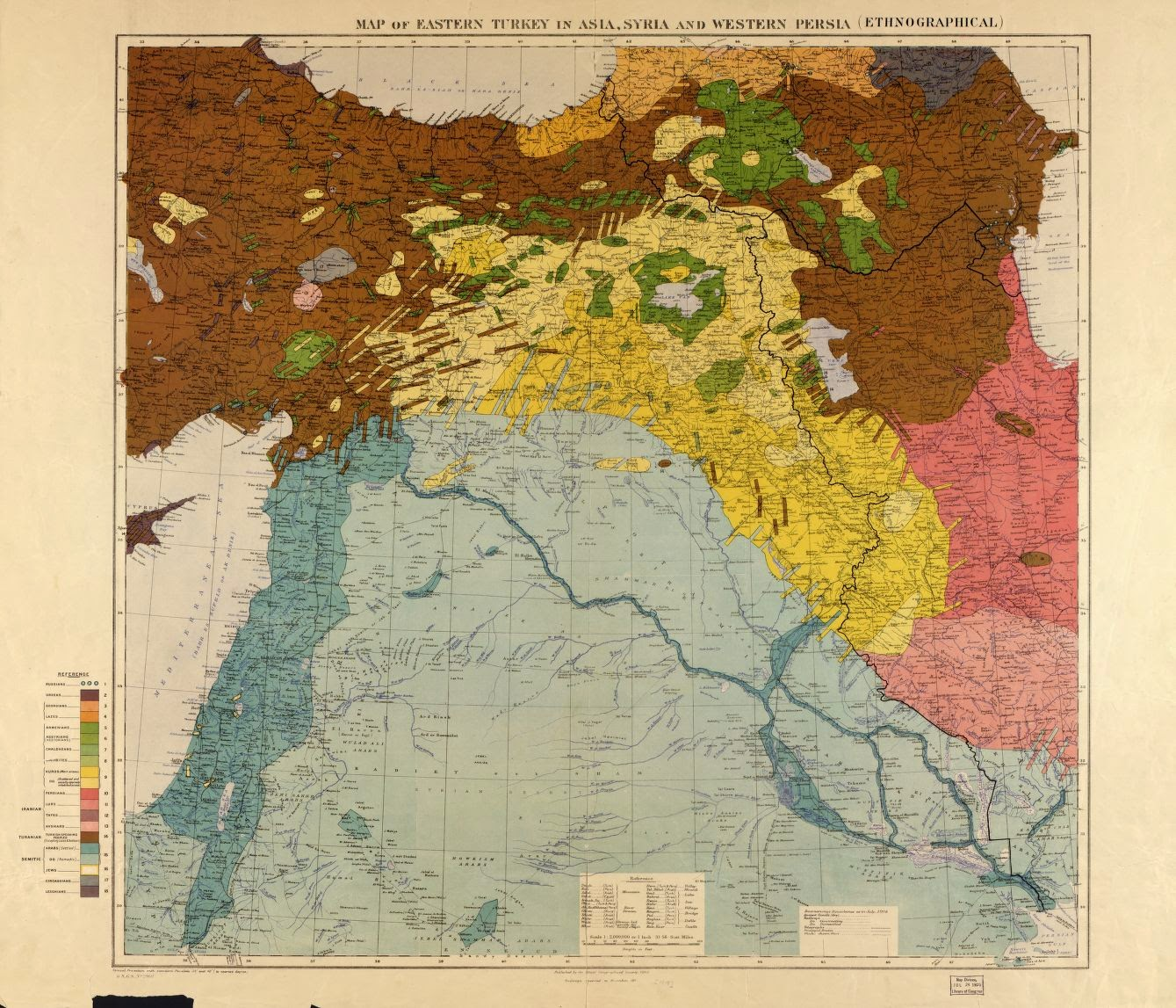 1910 map of eastern turkey in asia syria and western persia ethnographical