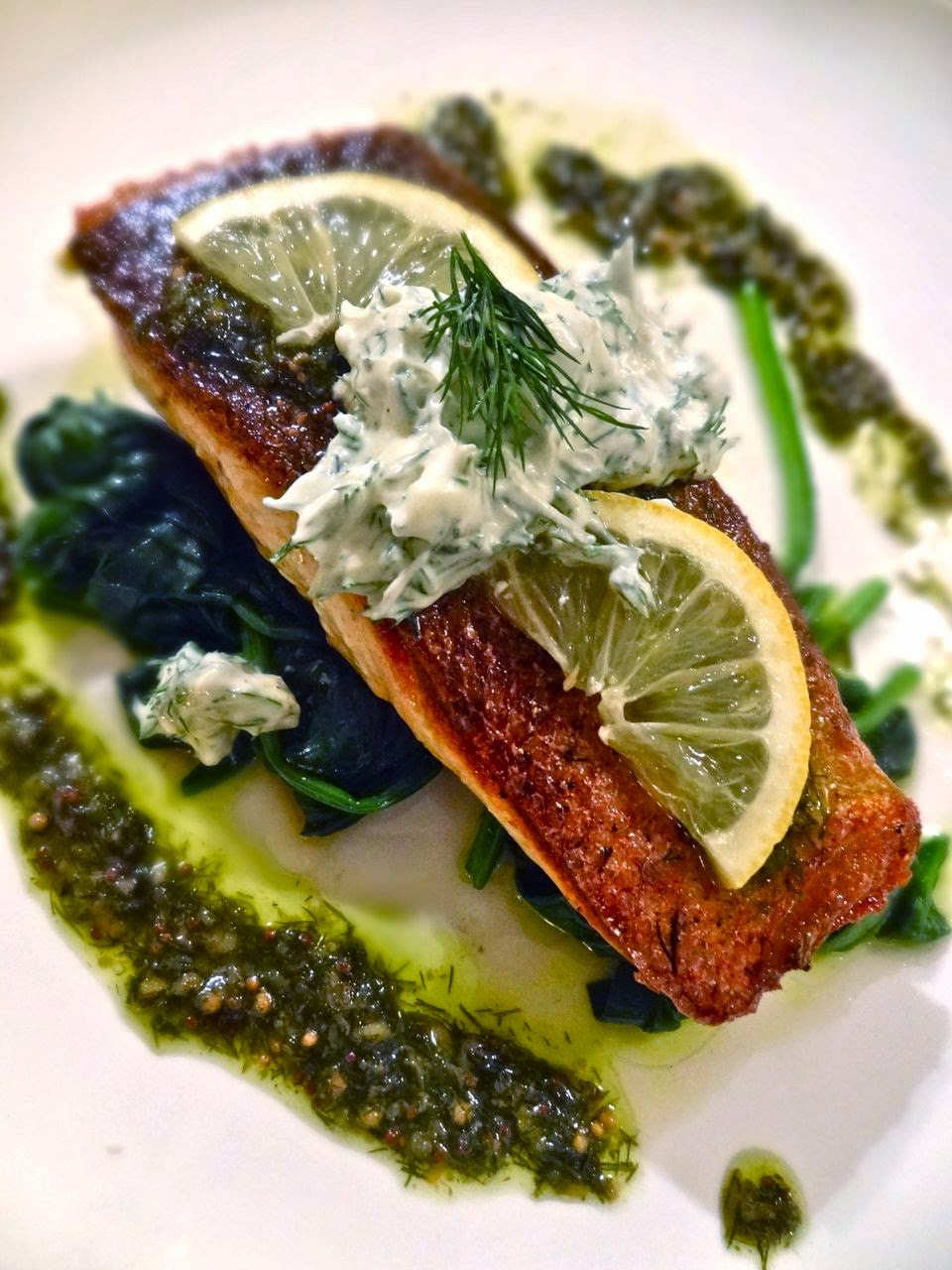 Scrumpdillyicious: Pan-Seared Salmon with Mustard-Caper Butter Sauce