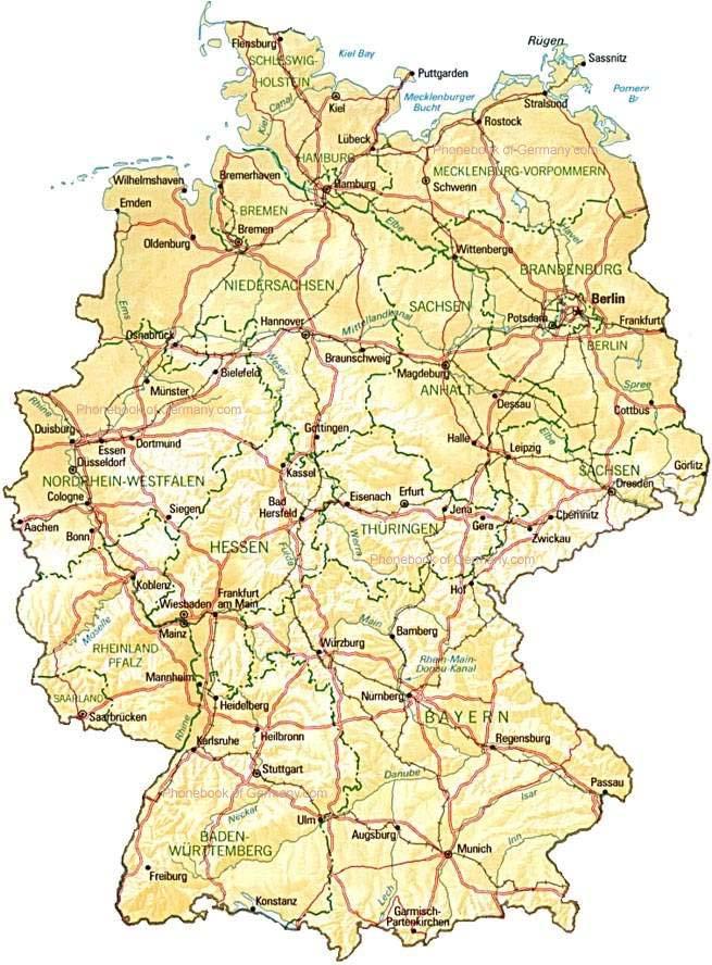 kort over tyskland (dansk)