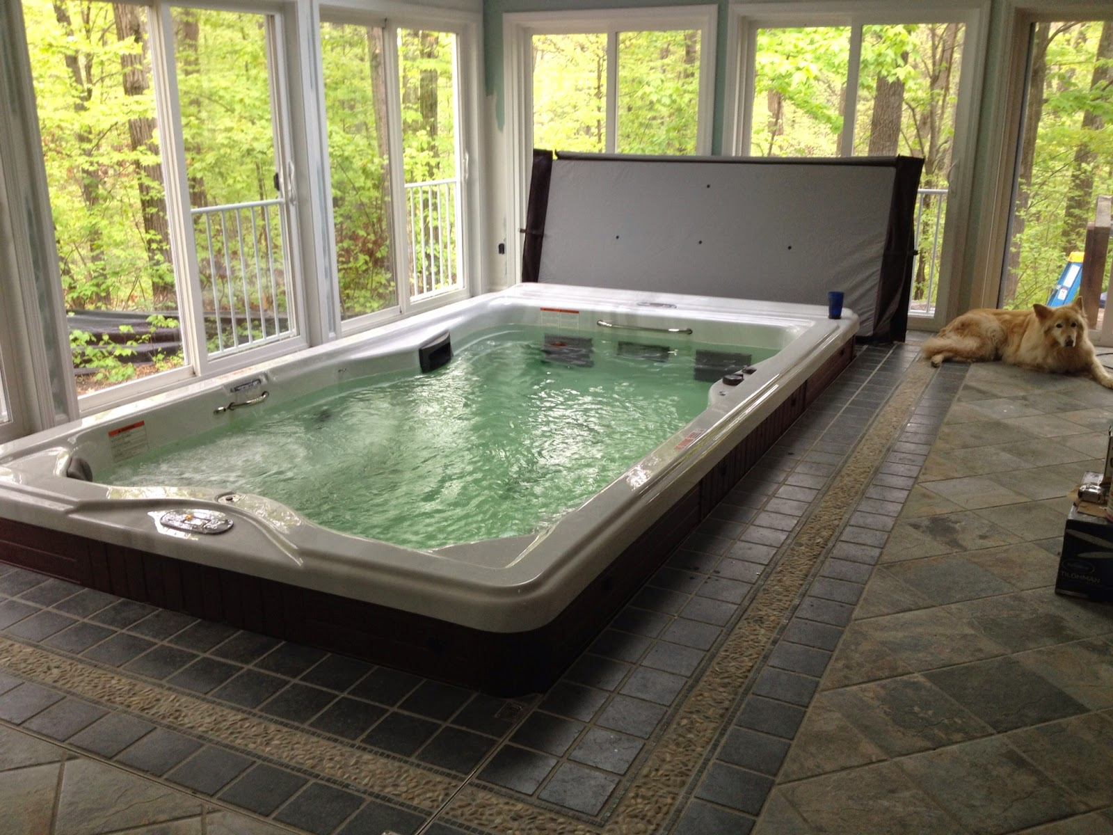 Mainly hot tubs and swim spas indoor swim spa by crocker for Swimming spa