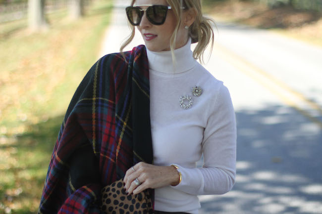 blanket scarf, leather skirt, clare v clutch, vintage brooches