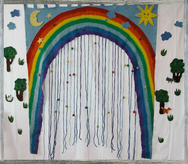 Как сделать и из чего радугу на стену