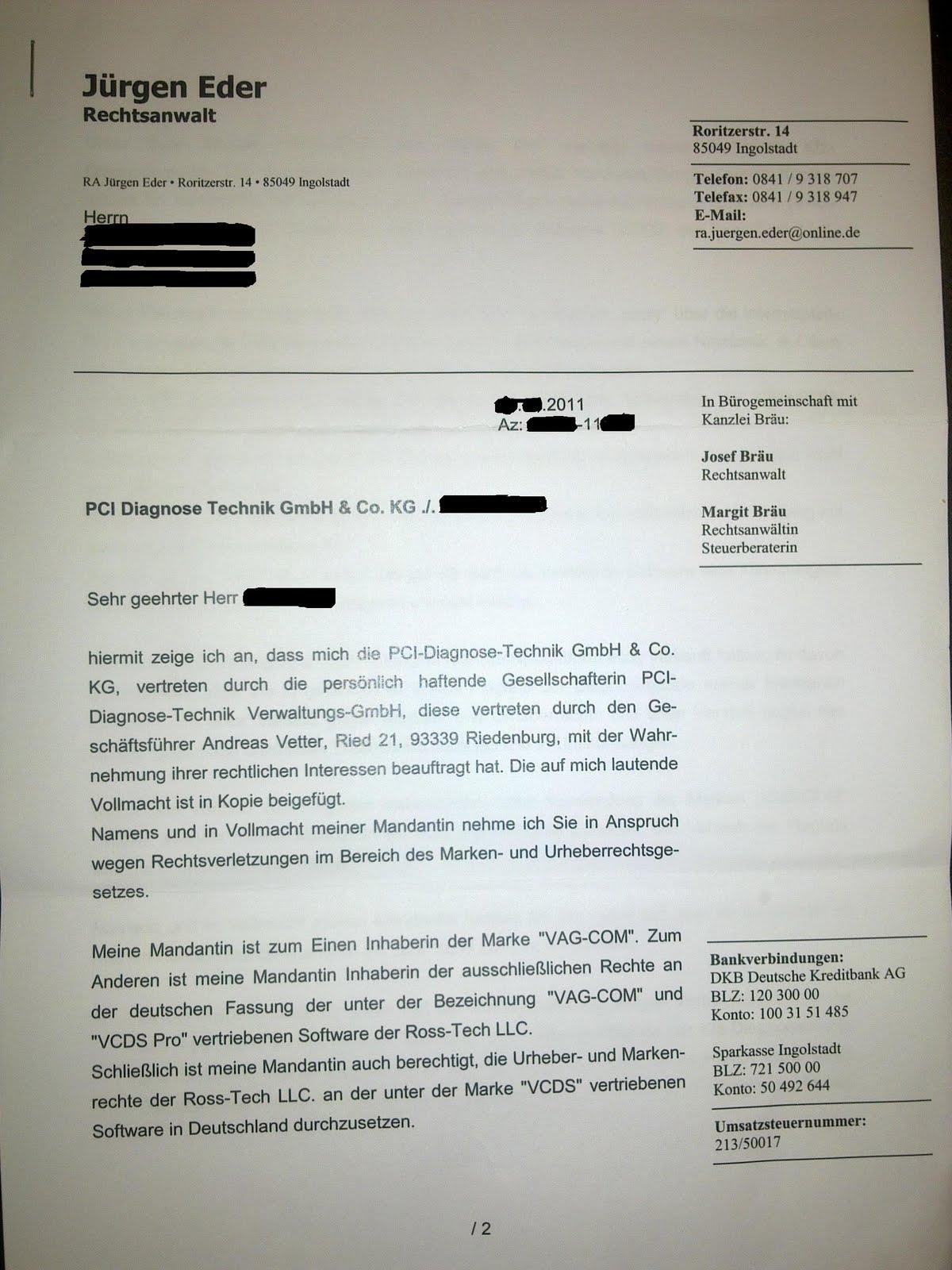 Brief Von Rechtsanwalt Vcds Abmahnug