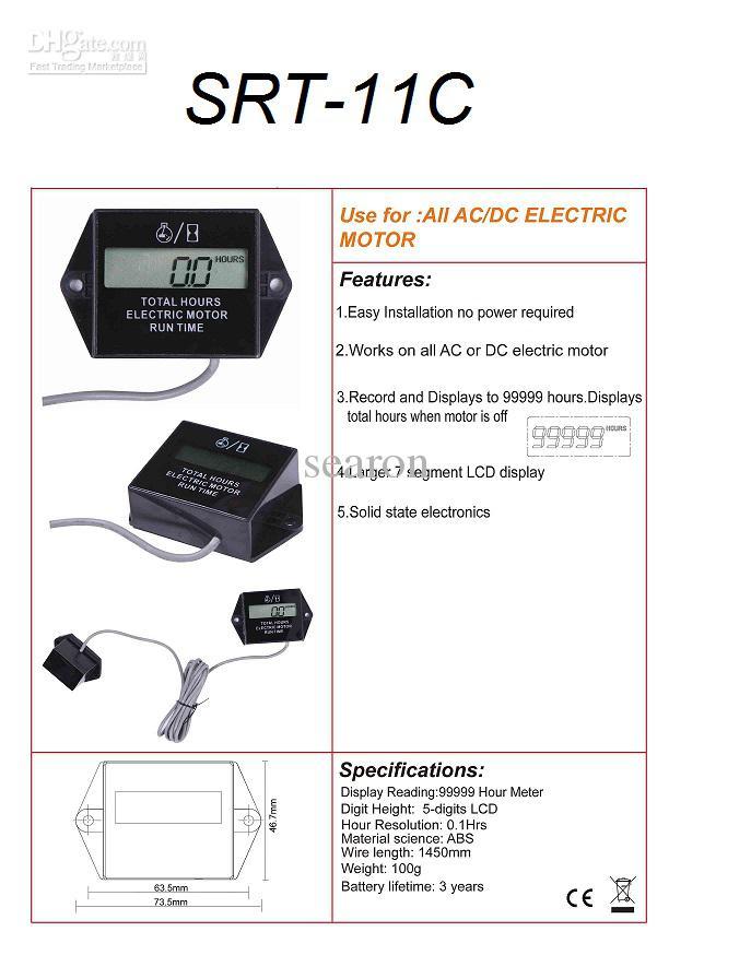 Electric Motor Hour Meter : Ac motor hour meter kit picture