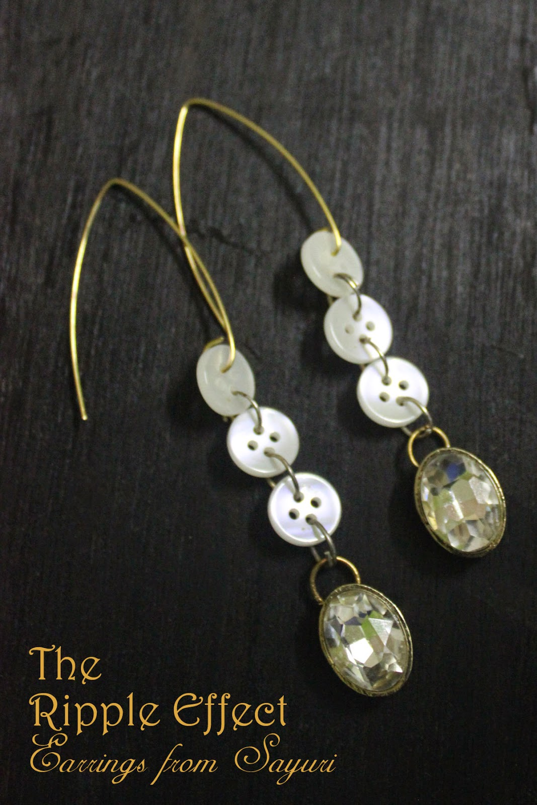 MOP button  and rhinestone earrings