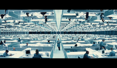 office with mirrored ceiling. Source: Upside Down movie.