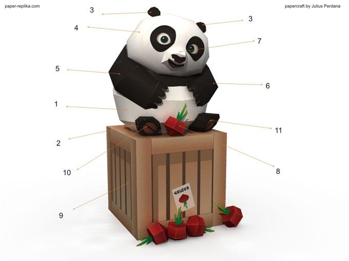 Kung Fu Panda 2 Papercraft  Baby Po and Radish CrateKung Fu Panda 2 Baby Po