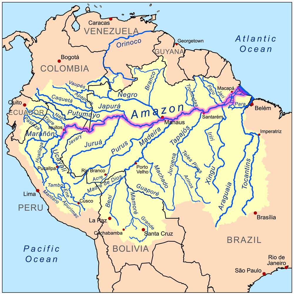 Online Maps Amazon River Map - America map with rivers
