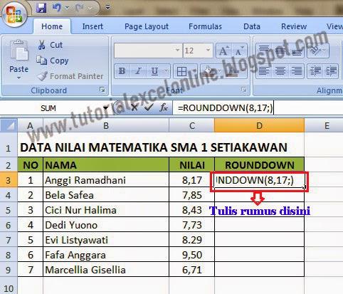 Rumus pembulatan ke bawah Excel