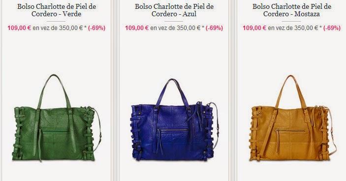 Modelos de bolsos de colores Charlotte en piel de cordero