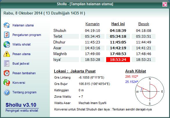 Shollu software aplikasi jadwal waktu sholat