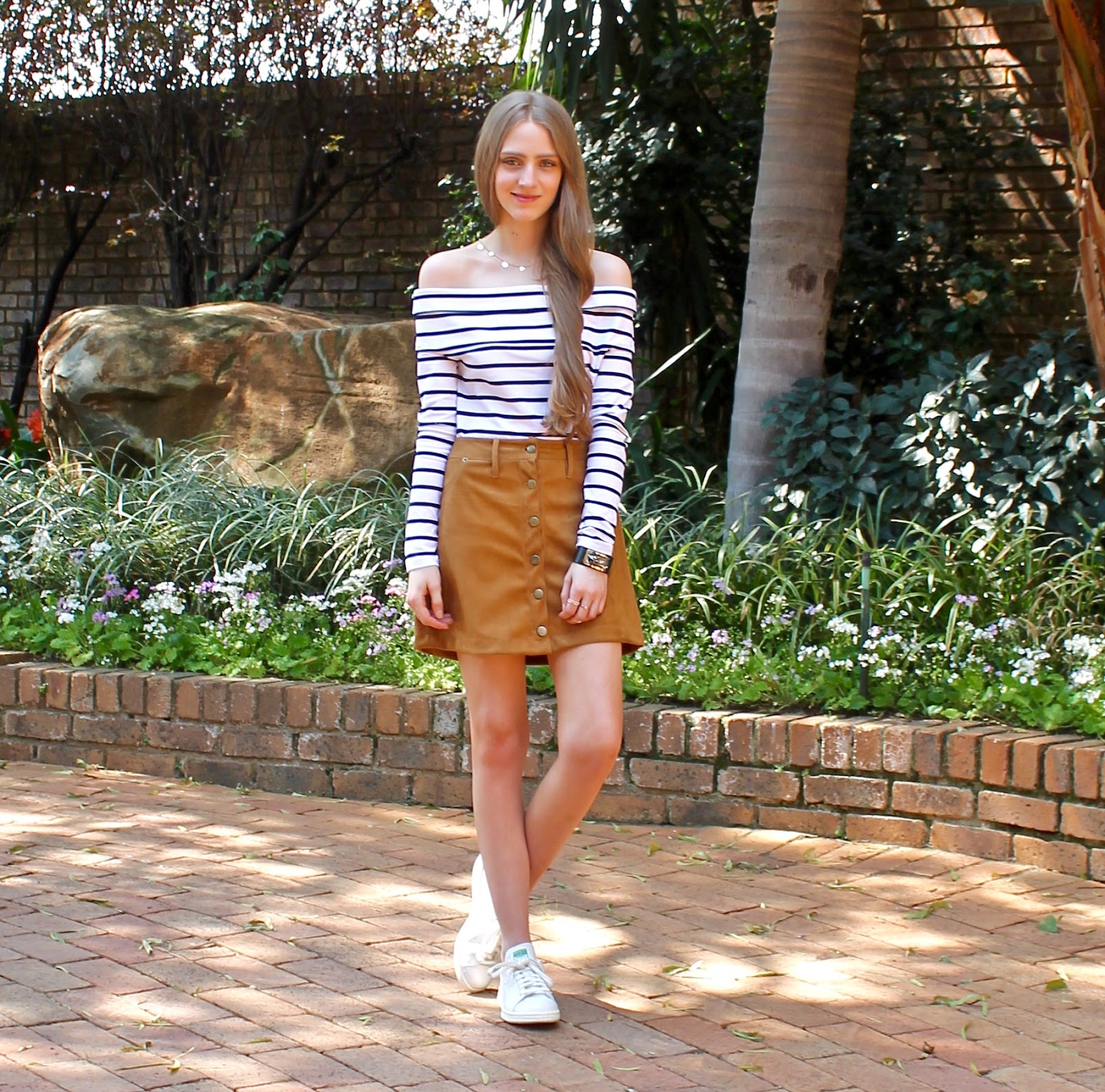 2.9.15} Stripes and Button Down 'Suede' Skirt