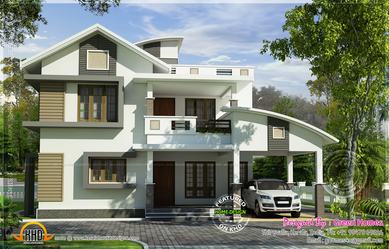 228 square meter modern contemporary mix home kerala plans for Modern house plans for 1600 sq ft