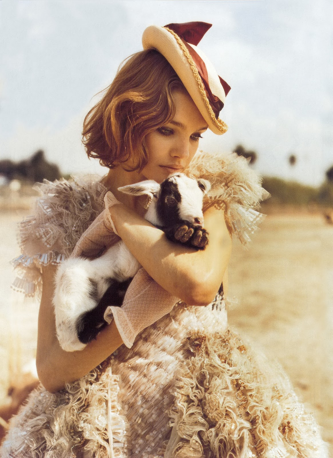 via fashioned by love | Natalia Vodianova in Vogue Italia March 2008 (photography: Bruce Weber, styling: Anne Christensen) | lambs in fashion editorials