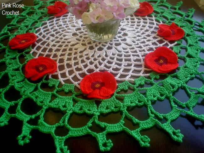 Pink Rose Crochet: Centro de Mesa Toalhinha Papoulas de Crochê