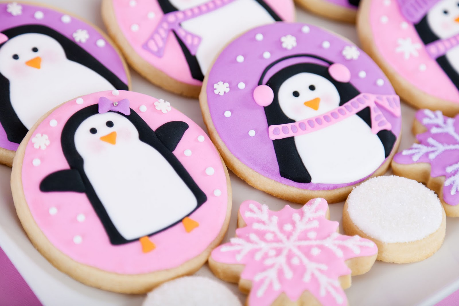 Pink And Purple Penguin Cookies Glorious Treats