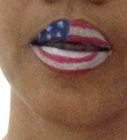 lips painting flags