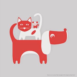Hund, katt, mus-Plakat