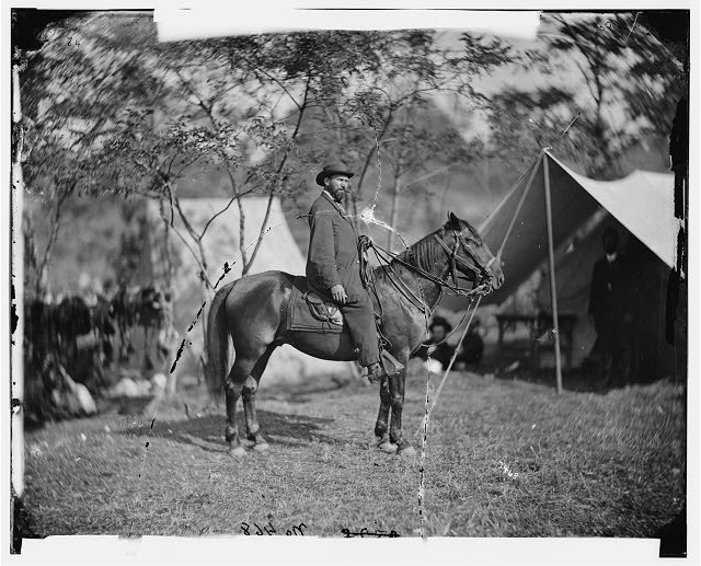 "Antietam, Md. Allan Pinkerton (""E. J. Allen"") of the Secret Service on horseback"
