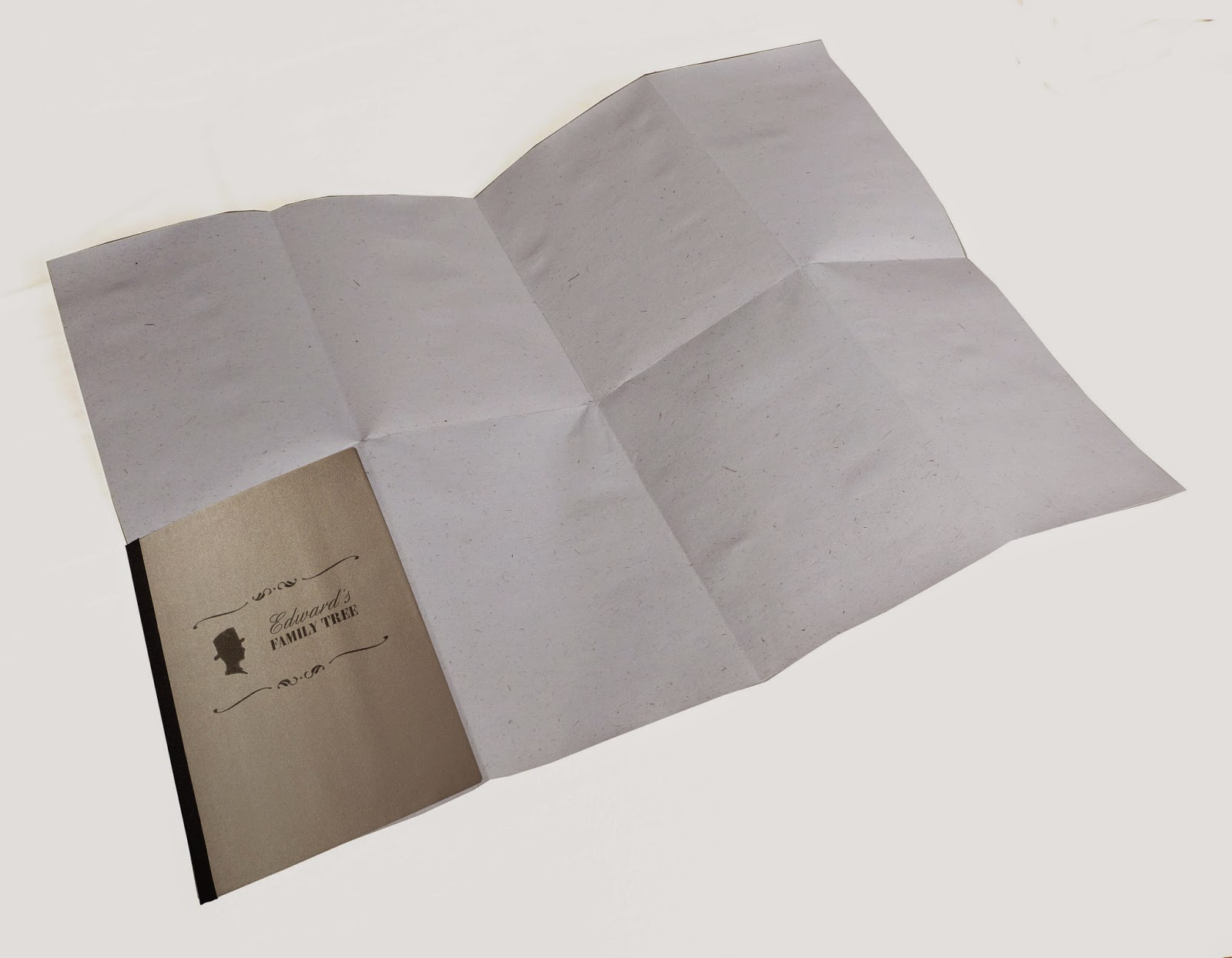 Family tree notebook with fold out centre page