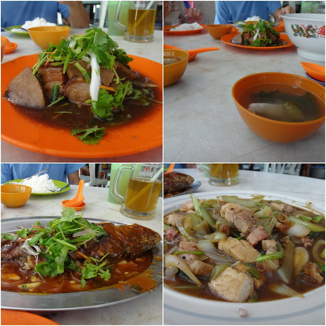 From left to right counterclock, Hakka Pork Belly slices with Yam, Preserved Vegetable and pork soup, Stir-fried leeks with roasted pork and a fried fish with sweet sour sauce at Cheong Loy Rice Shop, Pasar Jalan Patrick in Ipoh, Perak, Malaysia