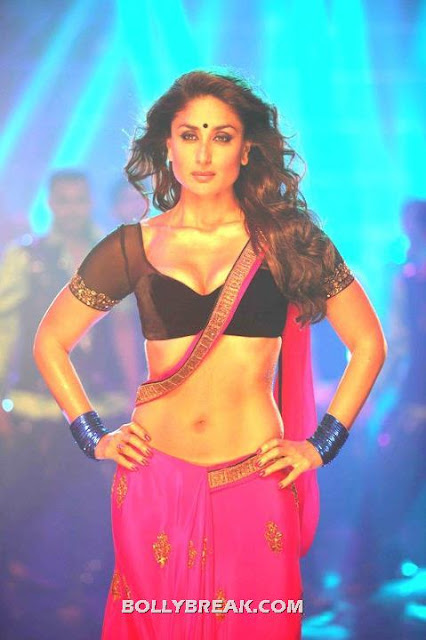 Kareena Kapoor Deep Navel, Red Saree, Black Bikini Blouse - Kareena Kapoor Halkat Jawani Stills - Photo Gallery Heroine Movie