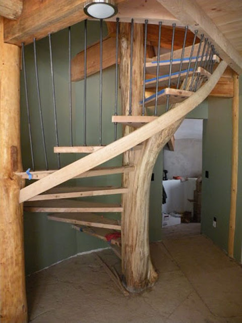 wood small spiral staircase