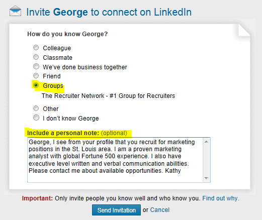 Wiserutips how to invite recruiters to connect on linkedin and replace the default text with specifically why you want to connect with the recruiter stopboris Image collections
