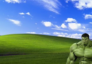 The Incredible Hulk Free Desktop Posters Wallpapers Green Monster watching you work in Beautiful Day Bliss Landscapes background