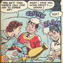 MF 89: Billy Batson exclaiming 'Ukkkk' as struck by, seemingly, Mary Batson
