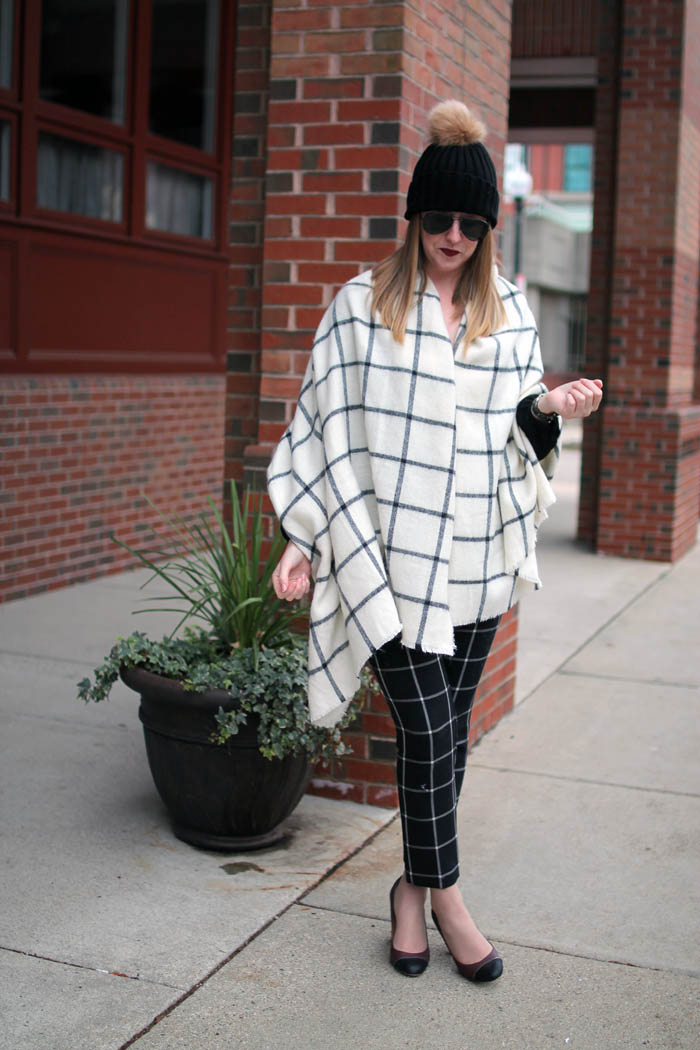 how to style blanket scarf, blanket scarf options, on the blog, old navy, boston blogger, window pane print, navy yard