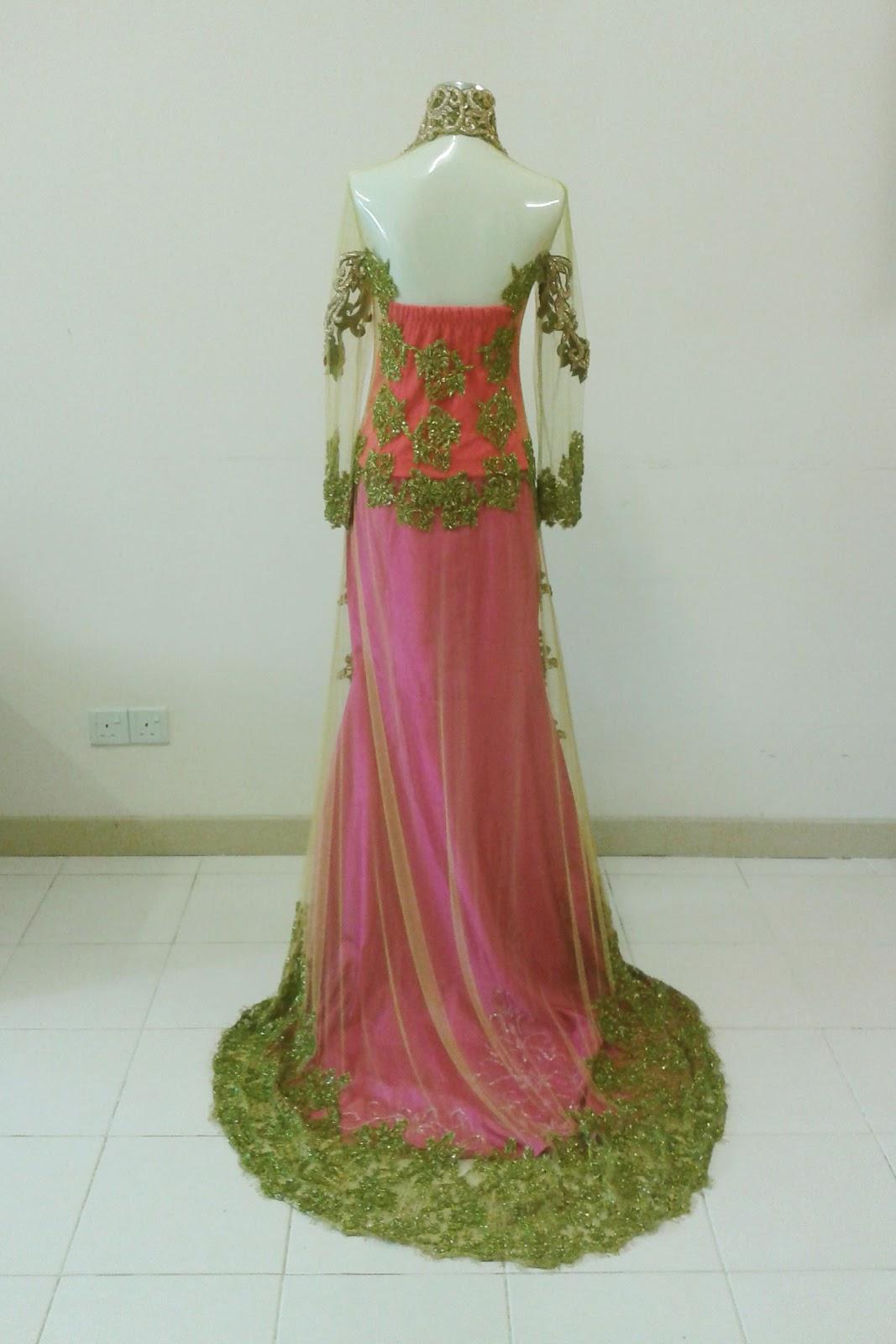bdc busana pengantin bermanik kombinasi warna hijau dan