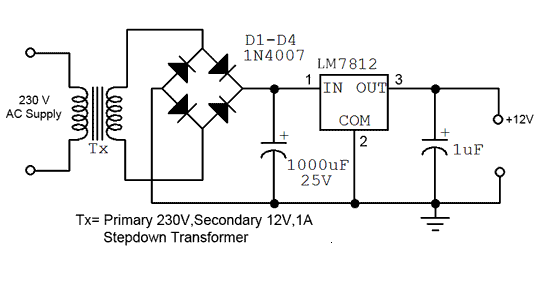 Wiring panel: Simple 12V fixed voltage power supply ...