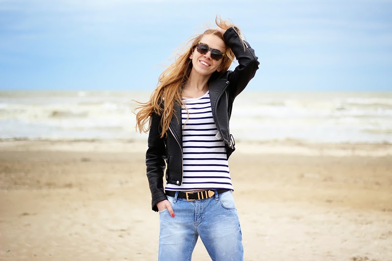 boyfriend jeans, striped top, moto leather jacket