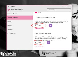 mematikan cloud based protection dan sample submission di windows 10