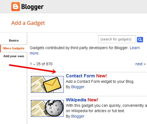 Contact Form Widget to Blogger