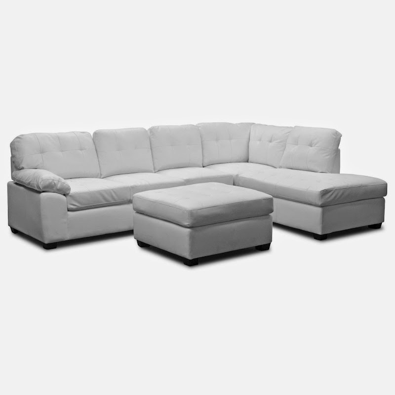 Modern Furniture White Leather Sectional Sofa With Ottoman (7 Image)