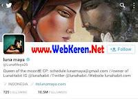 @LunaMaya26, Akun Twitter artis model, bintang film, penyanyi Indonesia dengan followers terbanyak