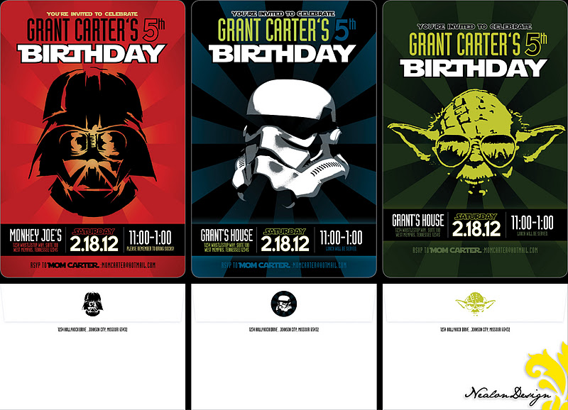 Nealon design star wars silhouette birthday invitations i was thrilled to recently design a star wars themed invitation for a very special 5 year old although this is not the design that was ultimately selected stopboris Images