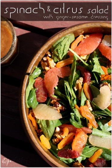 Spinach and Citrus Salad w/ Ginger-Sesame Dressing
