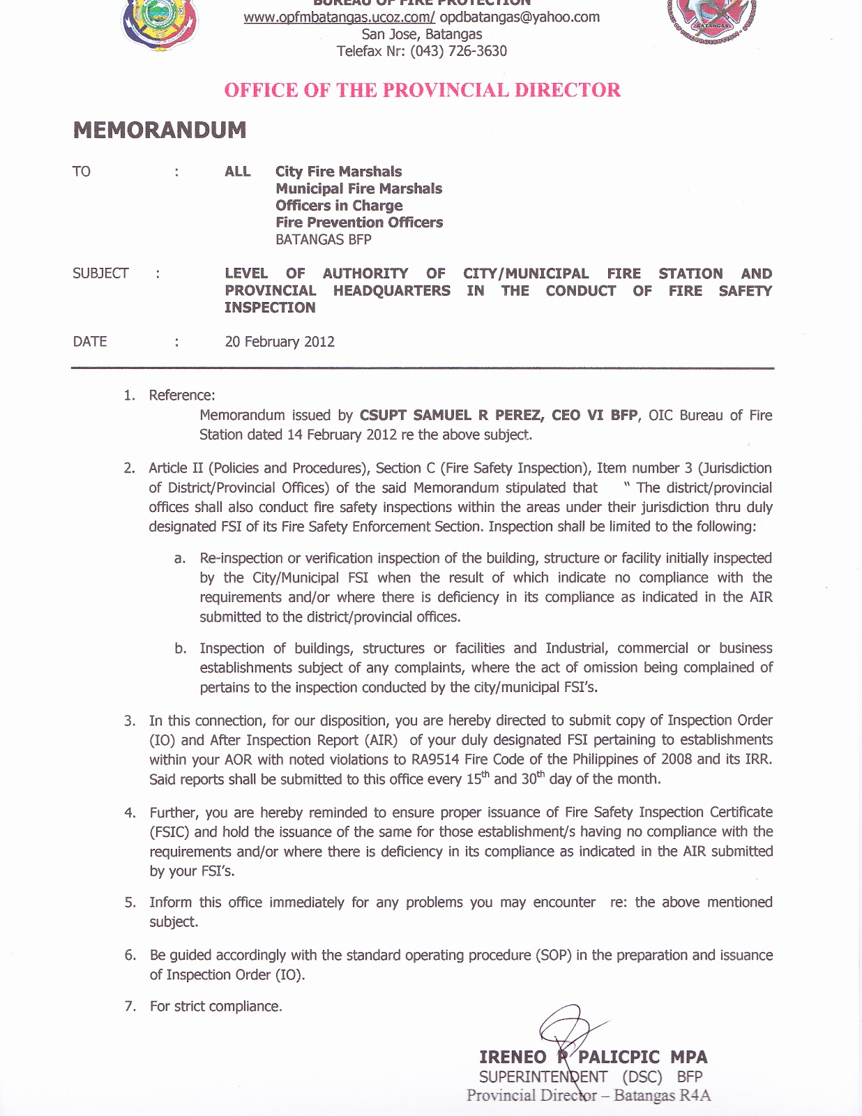 opd batangas archives 2012 memorandum re level of authority in the conduct of fire safety inspection