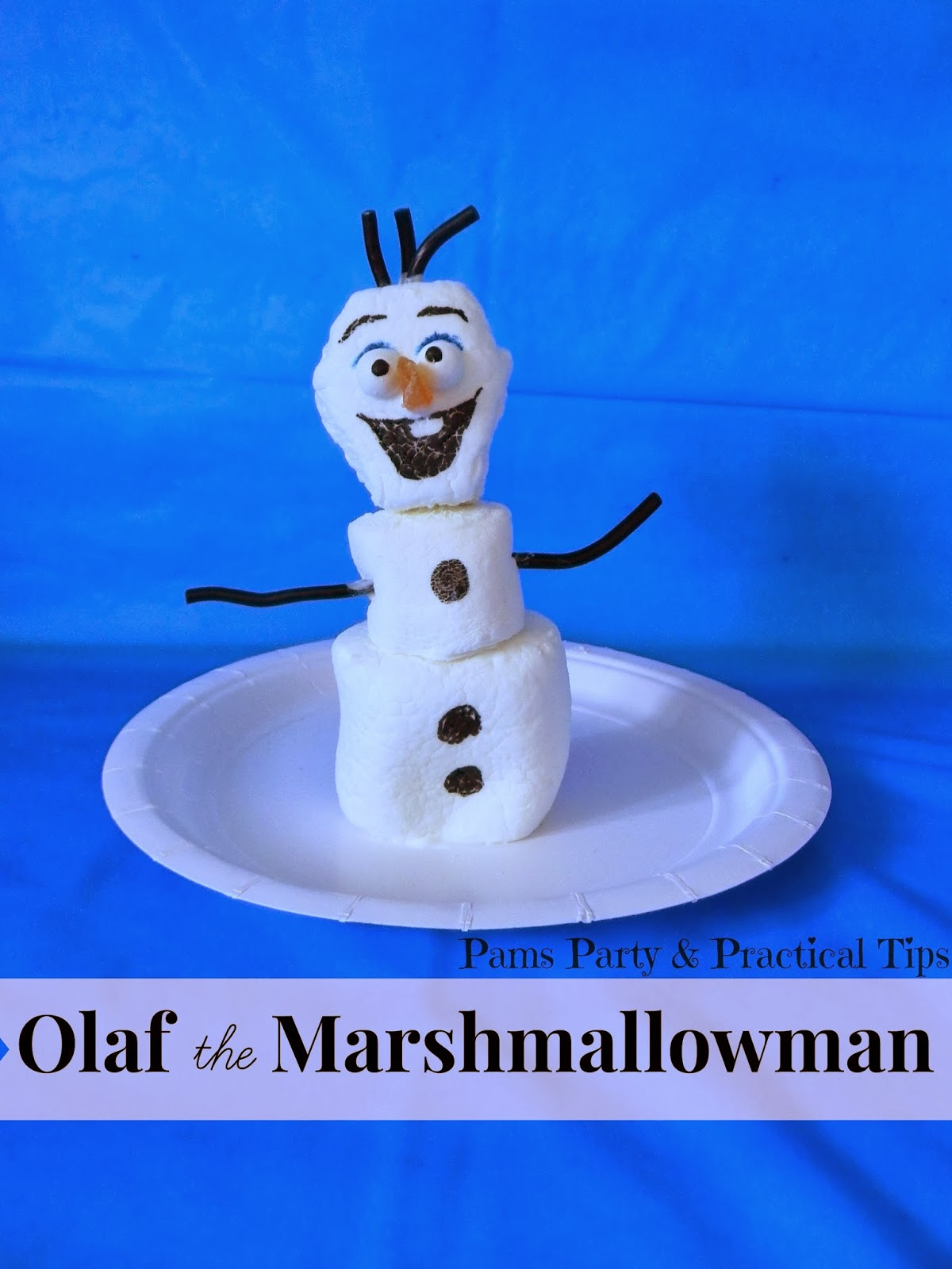 Olaf the Snowman made from marshmallows