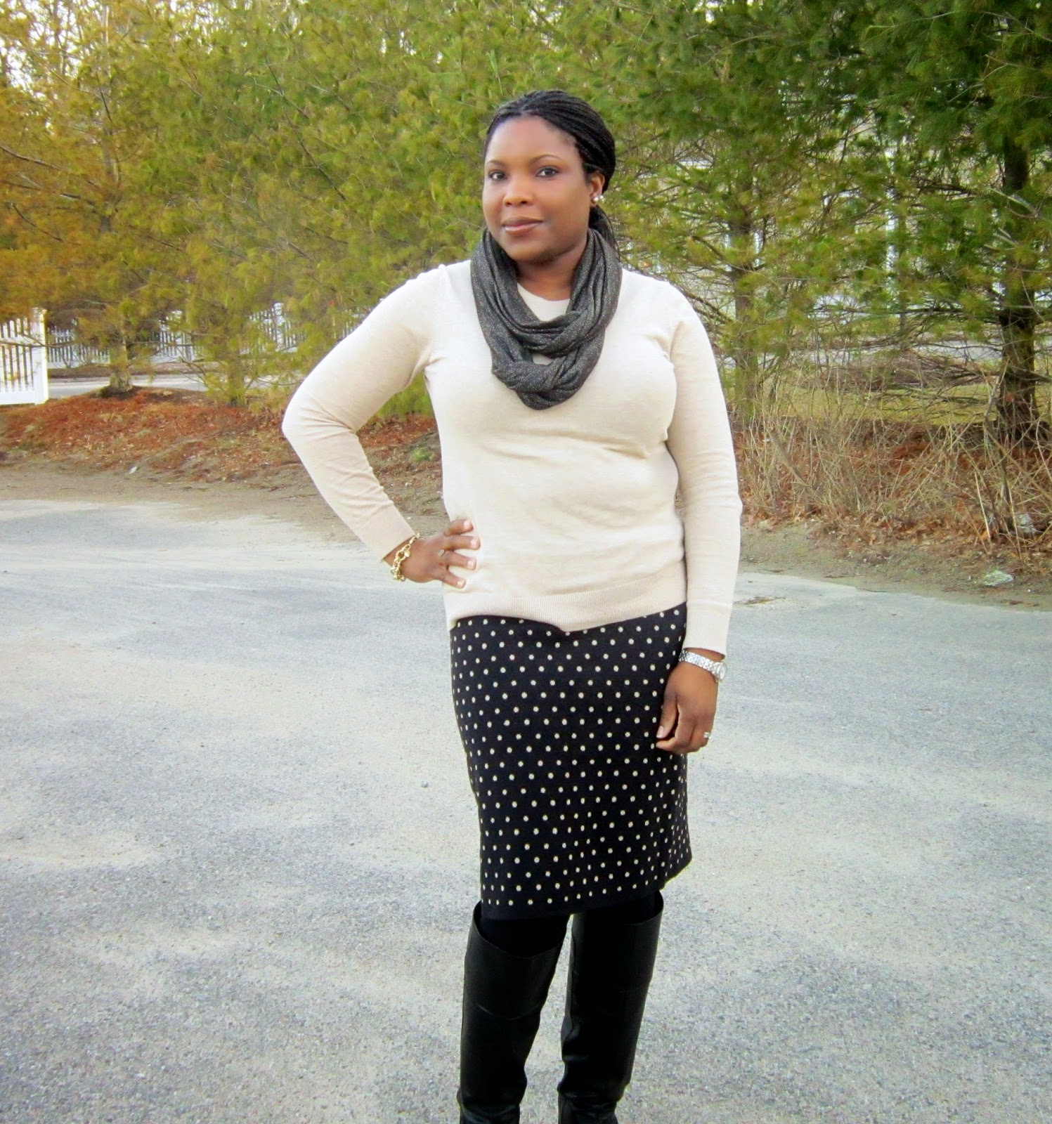 Scarf and sweater look, nine west wedge tall boots