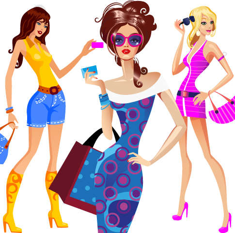 chicas lindas de compras - vector