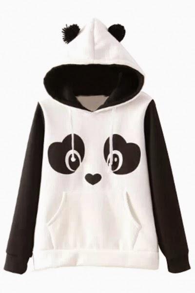Lovable Panda Pattern Hoodie